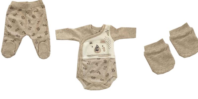 ست لباس نوزادی کارامل مدل ZE3362