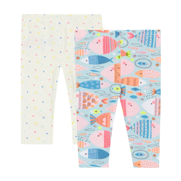 شلوار دخترانه چاپی bluezoo - bluezoo Pack of two baby girls printed leggings